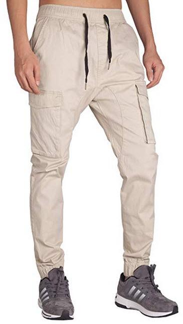ITALY MORN Men's Khaki Joggers Athletic Cargo Pants Men's Chinos Twill Pockets cream ...