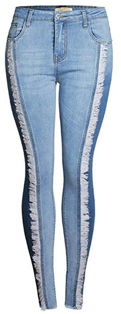 Itemnew Women Fashion Stylish Stretch Butt-Lift Color Block Fringed Skinny Jean Pants blue