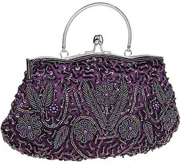 iToolai Satin Purse Evening Handbags Wedding Bag Beaded Sequins Clutch for Party grape