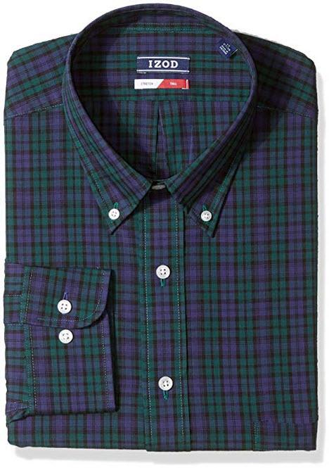 IZOD Men's Big Dress Shirts Stretch Check Tall Fit spruce