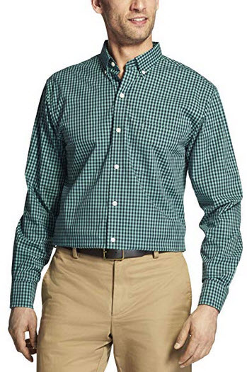 IZOD Men's Button Down Long Sleeve Stretch Performance Gingham Shirt beryl green