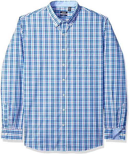 IZOD Men's Button Down Long Sleeve Stretch Performance Solid Shirt true blue tall slim