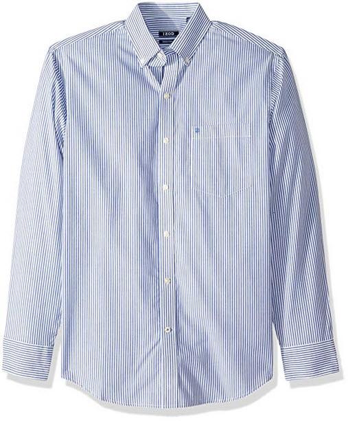 IZOD Men's Button Down Long Sleeve Stretch Performance Stripe Shirt mazarine blue rp