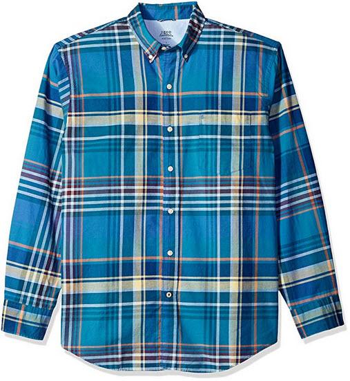 IZOD Men's Newport Oxford Plaid Long Sleeve Shirt saxony plaid