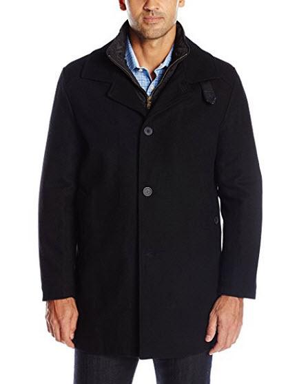 IZOD Men's Wool Walking Coat with Quilted Bib.