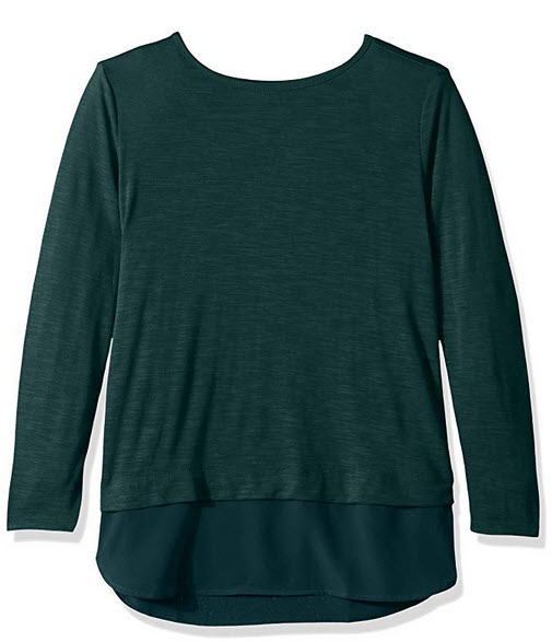 J. Crew Mercantile Womens Woven Hem T-Shirt academic green