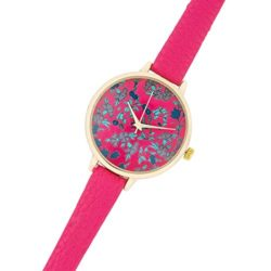 J Goodin Gold Women's Watch with Floral Print Dial – Pink Leather Strap