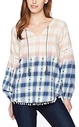 Jag Jeans Women's Elliot Shirt w Poms, Soft Navy, X