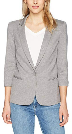 James Jeans Women's Shrunken Tuxedo Slim Collar Jacket in Heather Grey Ponte