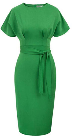 Jasambac Women's 50s 60s Vintage Bodycon Office Pencil Dress with Belt
