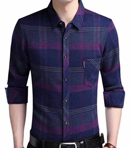 Jaycargogo Men's Winter Button Down Checked Long Sleeve Thermal Flannel Shirts