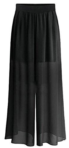 Jaycargogo Women Loose Elastic Waist Fashion Chiffon Palazzo Pants