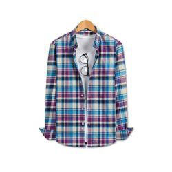 JBOOM CS402 Men's Becoming Slim-Fit Plaid Flannel Button-Down Shirt Blue