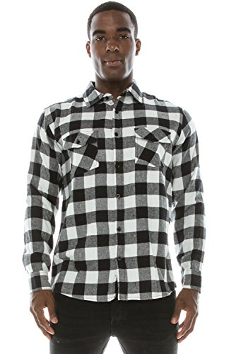 JC DISTRO Hipster Hip Hop Plaid Flannel Longline Button Up Checkered Shirt