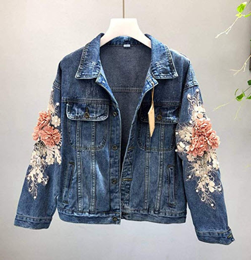 End Game Jeans Jacket Coat Woman Pearl Beaded Flower Embroidered Vintage Denim Jacket
