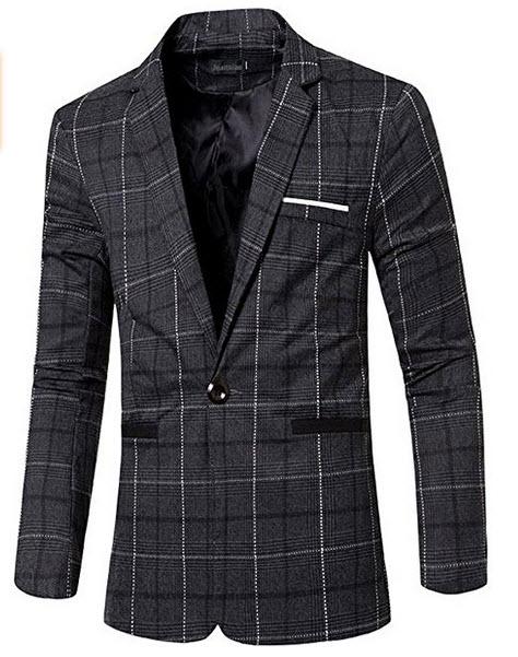 jeansian Men's Fashion Plaid Lapel Blazer Suit Jacket Outerwear Tops 9526.