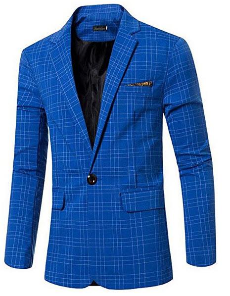jeansian Men's Fashion Plaid Lapel Blazer Suit Jacket Outerwear Tops 9525.
