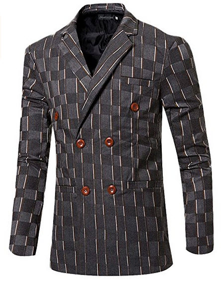 jeansian Men's Fashion Stripe Double Breasted Blazer Suit Jacket Tops 9523 .