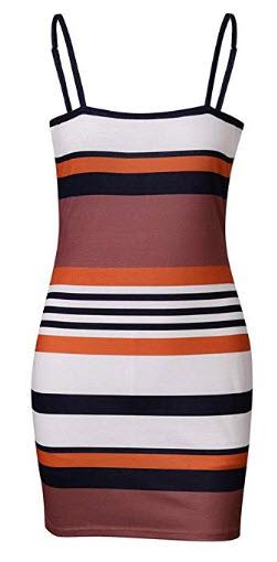 Jecikelon Women's Stripe Camisole Tight Summer Dresses for Women Mini Bandage Bodycon Shor ...