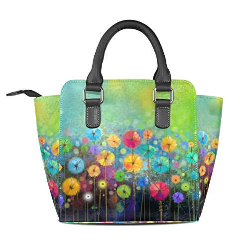 Jennifer PU Leather Top-Handle Handbags Abstract Floral Watercolor Single-Shoulder Tote Crossbod ...