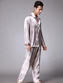 Jepaja Men's Stylish Comfort Silk Long Sleeve Pajama Pj Set