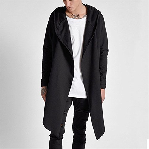 Jerald Logan Autumn Winter Open Stitch Hoodies Trench Irregular Hem Men Back Long Hooded Windbre ...