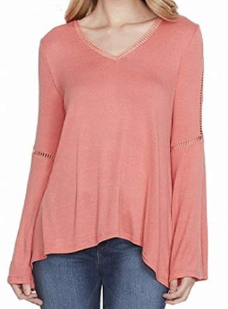 Jessica Simpson Women's Juniors' Bell-Sleeve Lace-Trim Top, pink