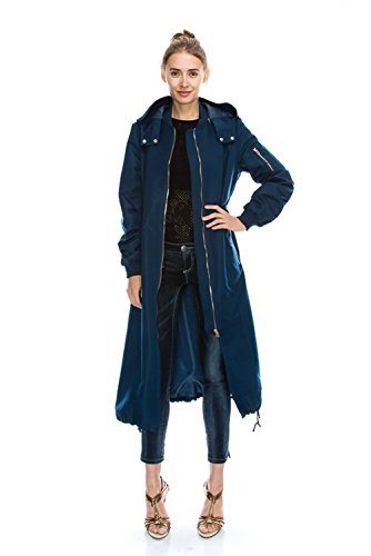 JEZEEL Women's Zipper Pocket Detail Hooded Long Waterproof Jacket. (DH419)