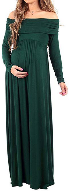 JGH Cowl Neck Ruched Shoulder Long Sleeve Solid Color Maternity Maxi Dress for Photography hunte ...