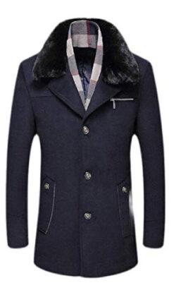 Jhsxydgy Men Fleece Faux Fur Collar Overcoat Wool Lined Single Breasted Thick Pea Coat