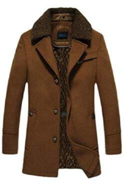 Jhsxydgy Men's Autumn Detachable Collar Wool Blended Single Breasted Coat Jacket Outwear