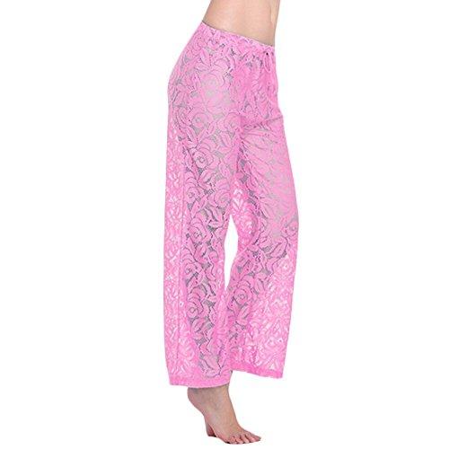JIAJIA Women's Floral Lace Hollow Out Crochet Long Palazzo Beach Pants Beachwear