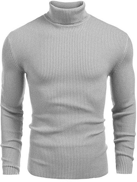 JINIDU Mens Casual Basic Ribbed Slim Fit Knitted Pullover Turtleneck Thermal Sweater grey