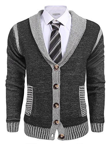 JINIDU Men's Slim Fit Shawl Collar Long Sleeve Knitted Jacket Cardigans Sweater