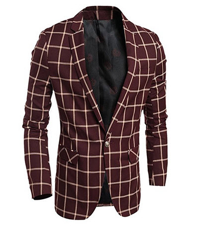 Jinsey Classic One Button Plaid Blazer Jacket Red.
