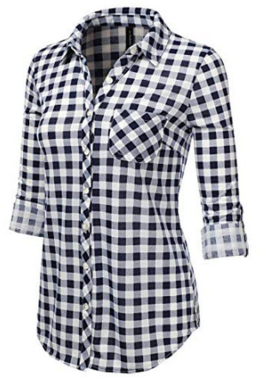 JJ Perfection Womens Long Sleeve Collared Button Down Plaid Flannel Shirt white navy