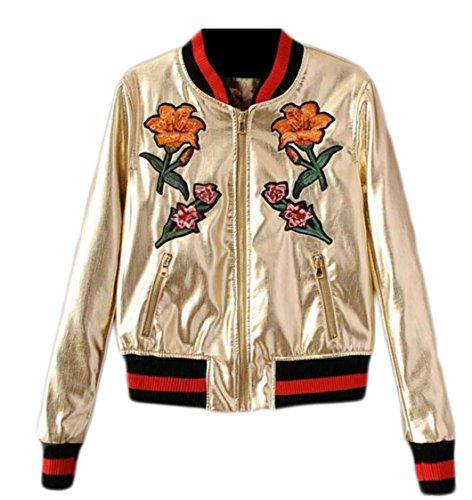 Jmwss QD Womens Classic Floral Embroidery Full Zip Baseball Short Bomber Coat Jacket