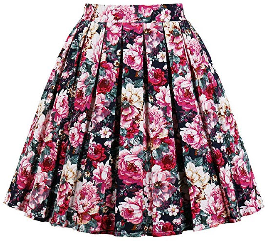 JOAUR Pleated Vintage Circle Skirts for Women Floral Print Skirts with Pockets, printa