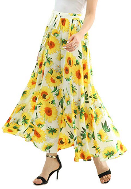 JOAUR Women Full/Ankle Length Floral Print Maxi Chiffon Long Skirt Beach Skirt, white