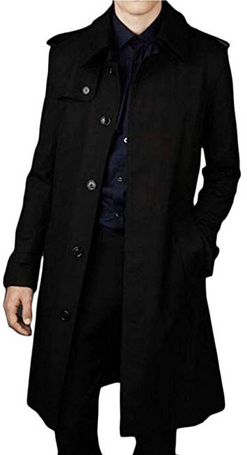 Joe Wenko Mens Fall/Winter Big Tall Single Breasted Casual Long Trench Coat blck