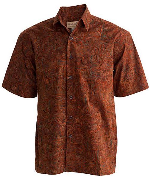 Johari West Ripple Rosso Tropical Hawaiian Cotton Batik Shirt terracotta