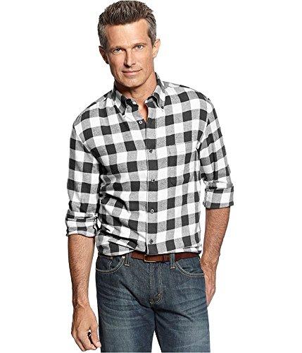 John Ashford Mens Flannel Checkered Button-Down Shirt