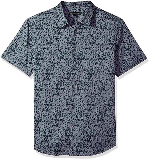John Varvatos Star USA Men's Short Sleeve with Cuff lake blue