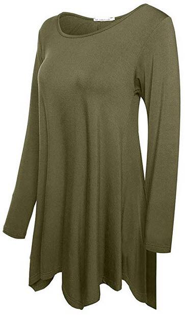 JollieLovin Womens Long Sleeve Tunic Top Loose Plus Size T Shirt army green