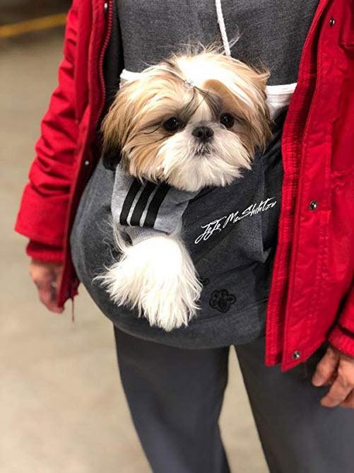 Jomago Womens Pet Carrier Shirts Kitten Puppy Holder Sweatshirt Animal Pouch Hood Tops dark grey