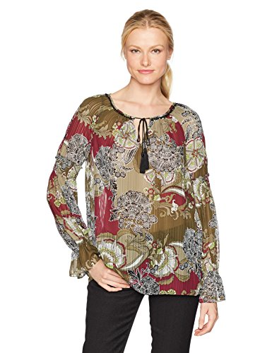 Jones New York Women's Floral Garden Prt Smock Slv Peasant Top