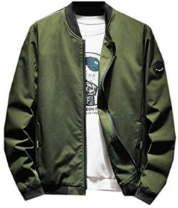 Jotebriyo Mens Plain Plus Size Stand Collar Zip Up Rib-Knit Casual Windbreaker Jacket Coat, green