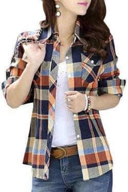 Jotebriyo Women Casual Long Sleeve Button Down Plaid Slim Fit Cotton Shirt Blouse Top