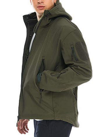 JUCFHY Men's Lightweight Windbreaker with Hood Waterproof Tactical Jackets for Hiking Clim ...