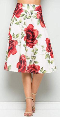 Junky Closet Women's A Line Knee Length High Waisted Skirt , white, rose